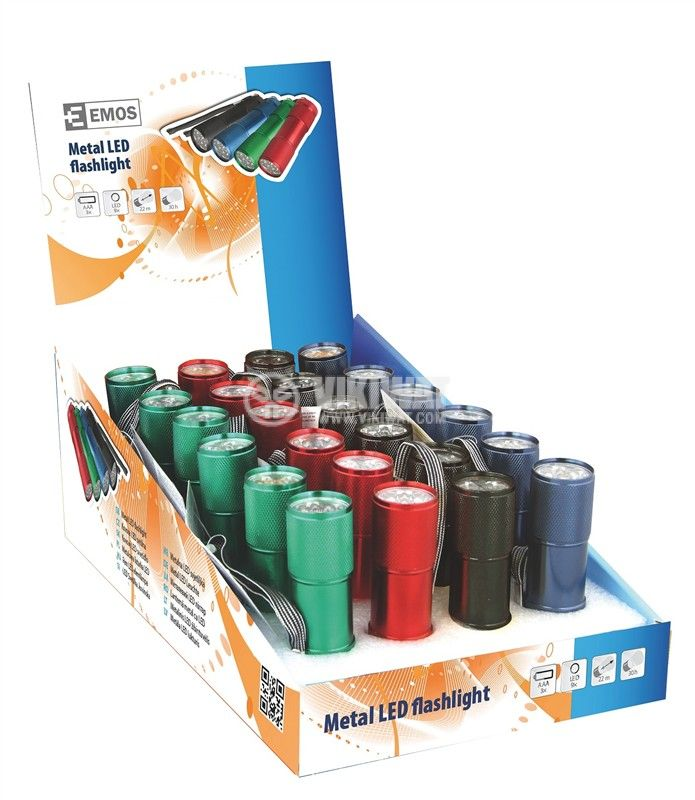 LED фенер метален, 9 светодиода, черен, зелен, син, червен - 6