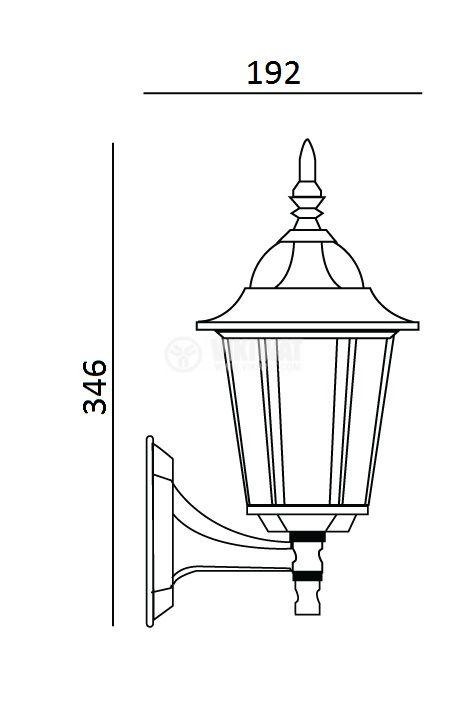 Garden lighting fixture TINO UP/ BLACK, E27, mural black - 2