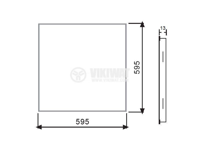 LED panel 40W, square, 220VAC, 2600lm, 6500K, cool white, 600x600mm, recessed, SLIM, BP15-36630 - 4