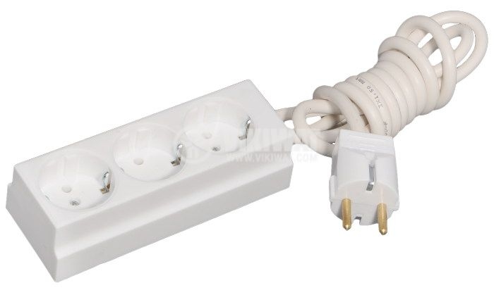 Socket-outlet 3 way with plug 2m