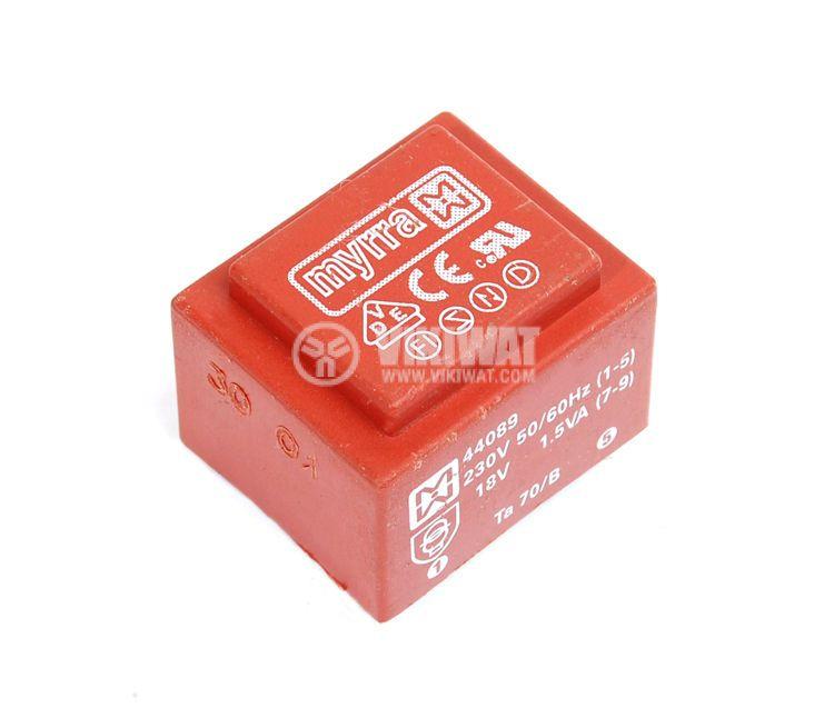 Трансформатор за печатен монтаж 230 / 18 VAC, 1.5 VA - 1