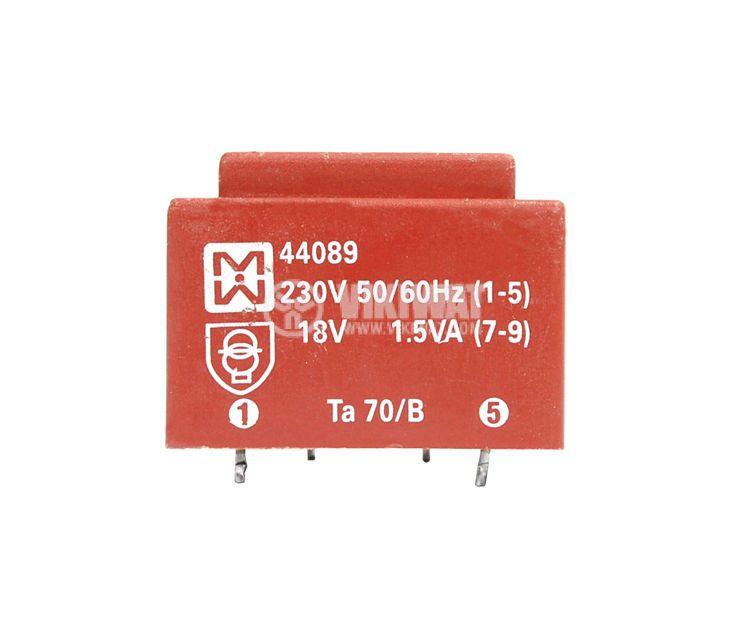 Трансформатор за печатен монтаж 230 / 18 VAC, 1.5 VA - 2
