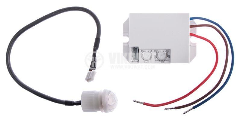 PIR шалтер (мини сензор), 220VAC, 800W - 200W, 120° - 360°, до 6m - 1