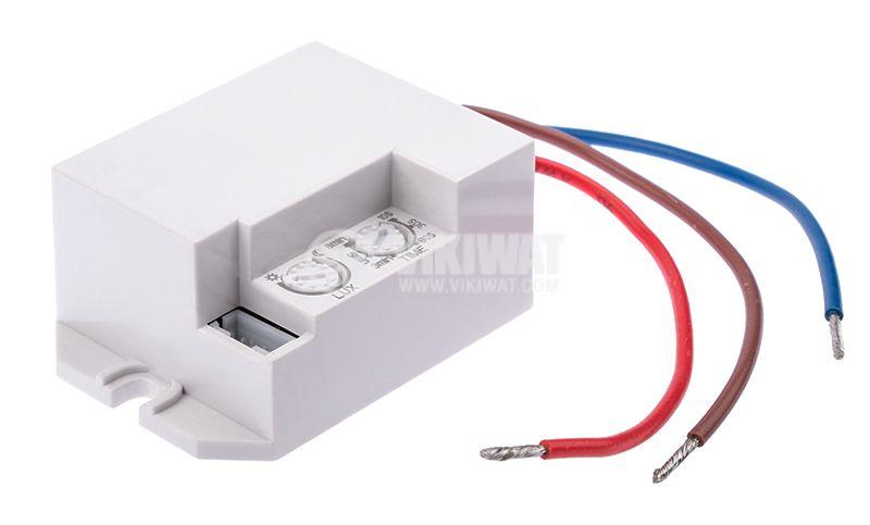 PIR шалтер (мини сензор), 220VAC, 800W - 200W, 120° - 360°, до 6m - 2