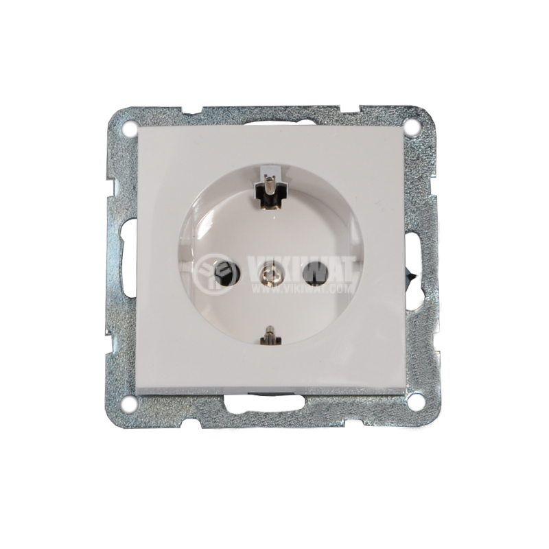 Електрически контакт, Шуко, LM60021P, за вграждане, 16A, 250VAC, бял - 1