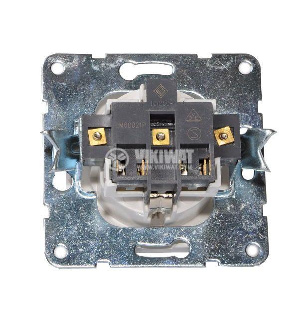 Електрически контакт, Шуко, LM60021P, за вграждане, 16A, 250VAC, бял - 2