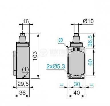 Краен изключвател, XCK-S101, SPDT-NO+NC, 10A/400VAC, щифт - 4