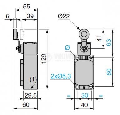 Краен изключвател, XCK-S131, SPDT-NO+NC, 10A/400VAC, рамо с ролка - 4