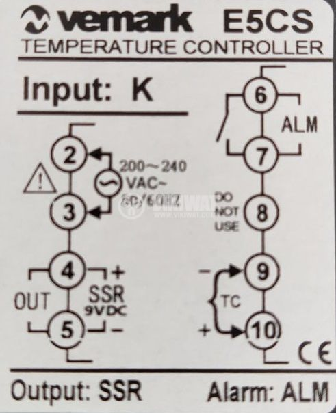 Термоконтролер, E5CS, 220VAC, 0°C до 400°C, за термодвойка тип K, SSR изход - 3