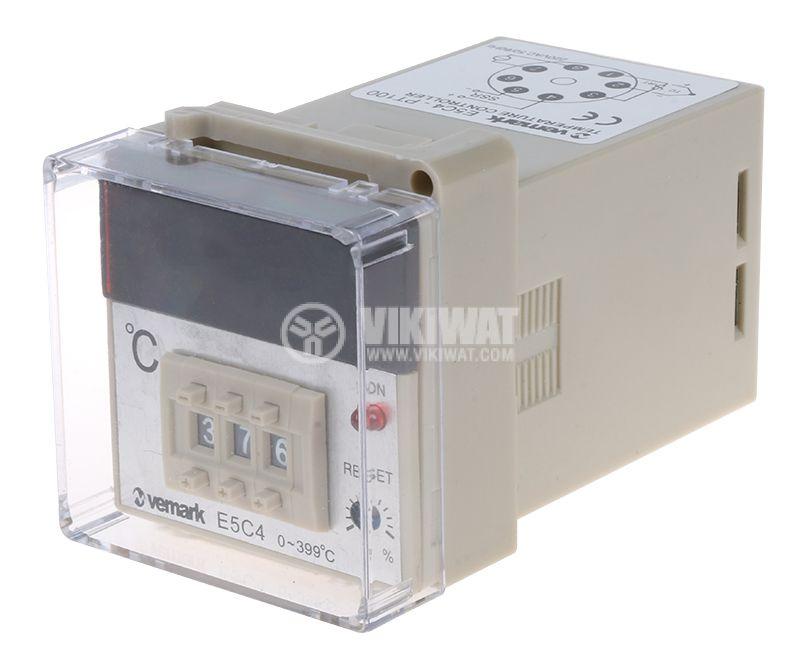 Термоконтролер, E5C4, 220 VAC, 0 °C до 400 °C, за терморезистор тип Pt100, SSR изход - 1