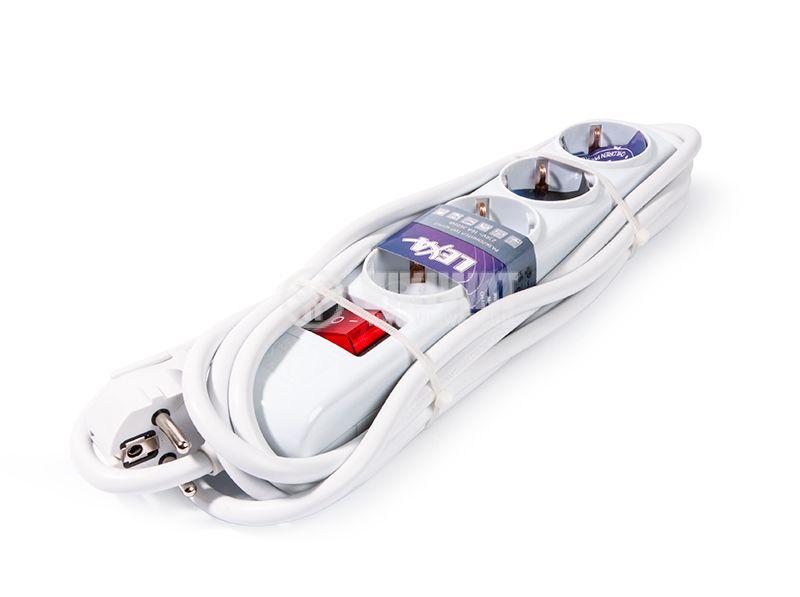 Разклонител 4-ка, Lexa, 5m кабел, с ключ, бял - 1