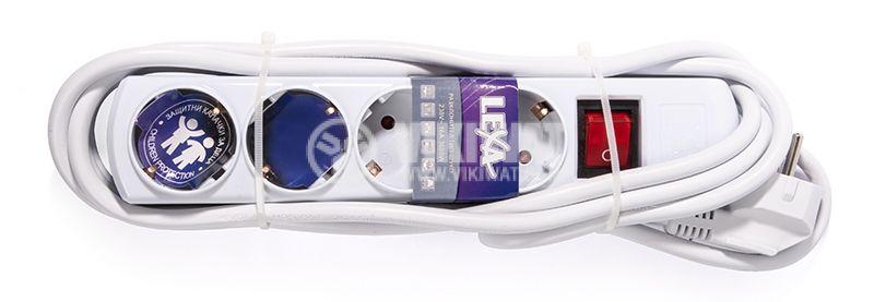 Разклонител 4-ка, Lexa, 5m кабел, с ключ, бял - 3