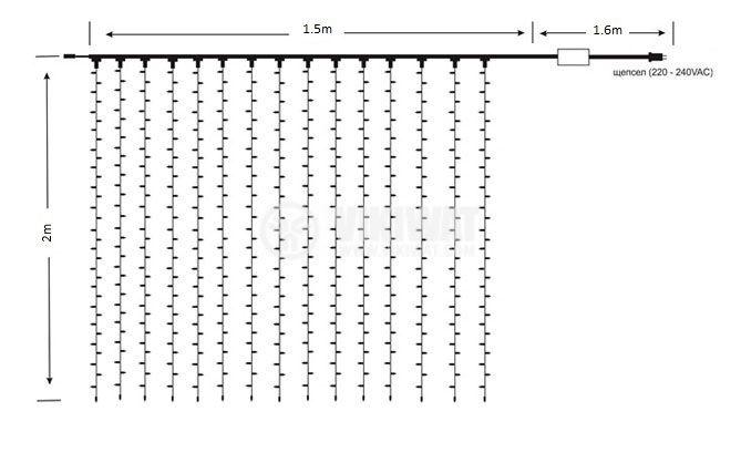 Светеща коледна украса тип завеса, 1.5x2m, 35W, студенобяла, IP44, 300 LEDs - 3