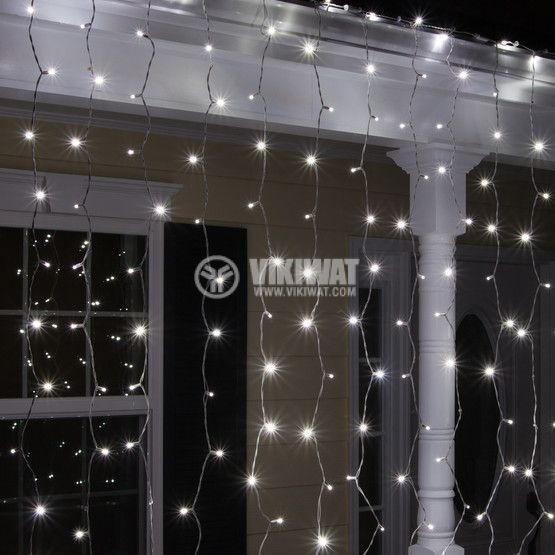 LED christmas lights type curtain, 1.5x2m, 35W, cool white, IP44, 300 LEDs - 4