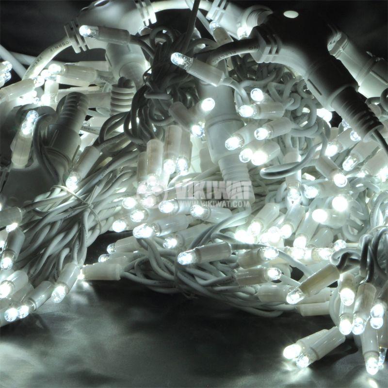 Коледна украса тип завеса, 1.5x2m, 35W, студенобяла, IP44, 300 LEDs - 1