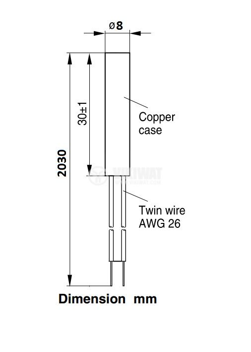 Терморезистор тип Pt46, ЕСПА01АБ3, 0°C - 300°C, Ф8 mm, дължина 30 mm - 2