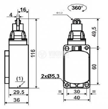 Краен изключвател, XCK-S102, SPDT-NO+NC, 10A/250VAC, щифт с ролка - 3