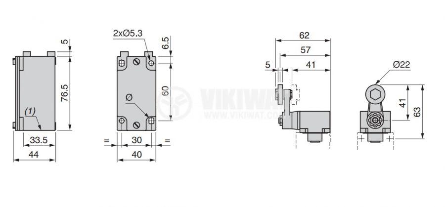 Limit Switch, XCKJ10513H29, NO + NC, 240VAC / 250VDC, 10A, steel roller lever - 4