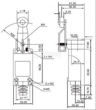 Краен изключвател, TZ-8104, SPDT-NO+NC, 5A/250VAC, рамо с ролка - 2