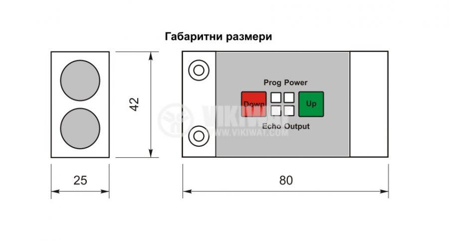Ultrasonic Sensor, UD64N, 14-30 VDC, NPN, NO + NC, 4 m - 2