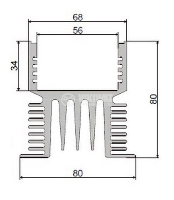 Aluminum cooling radiator profile for SSR relays 100A 190mm oxidized - 3