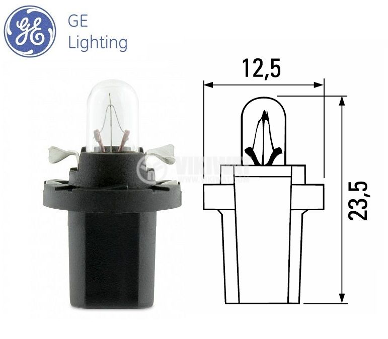 Автомобилна лампа с PVC цокъл, нажежаема жичка, 12VDC, B8.5d, 1.2W