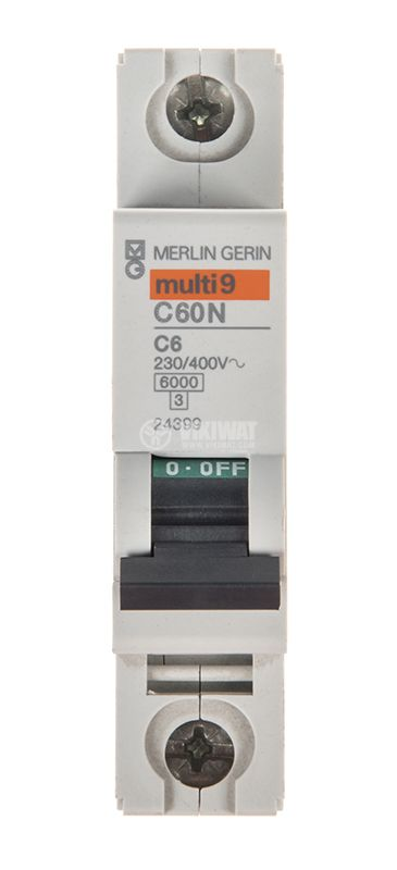Miniature circuit breaker, 1x6A, IC60N C6, DIN rail, curve C, A9F74106 - 1