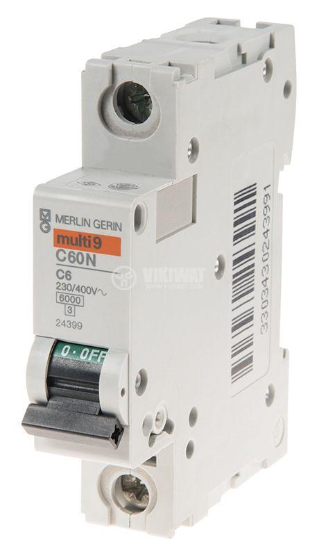 Miniature circuit breaker, 1x6A, IC60N C6, DIN rail, curve C, A9F74106 - 2