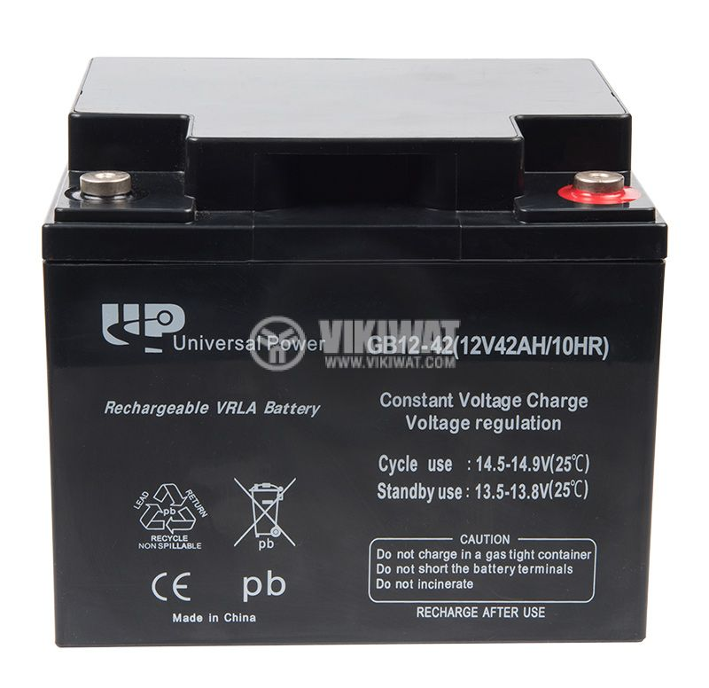 Battery, 12VDC, 42Ah, rechargeable, constant voltage, encapsulated - 1