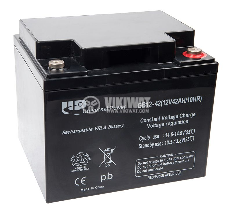 Battery, 12VDC, 42Ah, rechargeable, constant voltage, encapsulated - 2