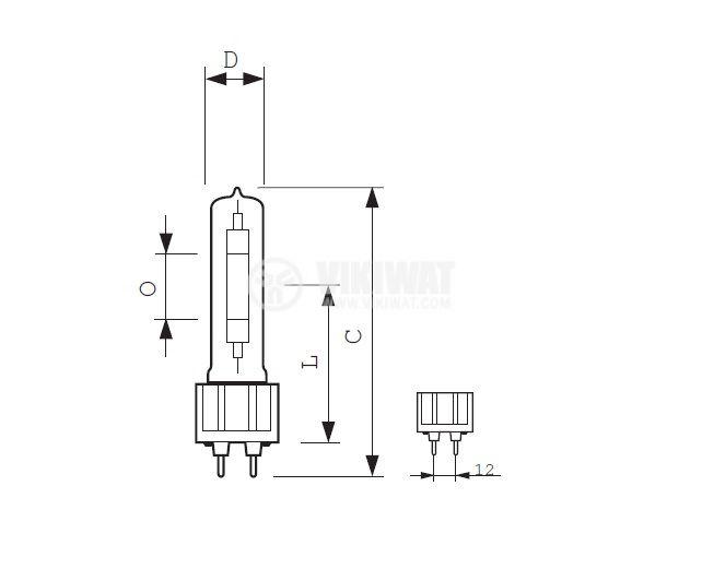 Metal-Halide Lamp GX12-1, 100 W, 90 V, 2500 K, 1.1 A - 2