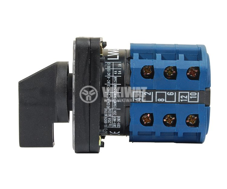 Rotary Cam Switch, LW26-25/6, 1-0-2, 25A, 6 contacts, 3 positions, 3 sections - 2