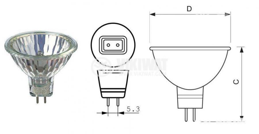 Халогенна лампа MR16, 12 VDC, 35 W, 2.92 A