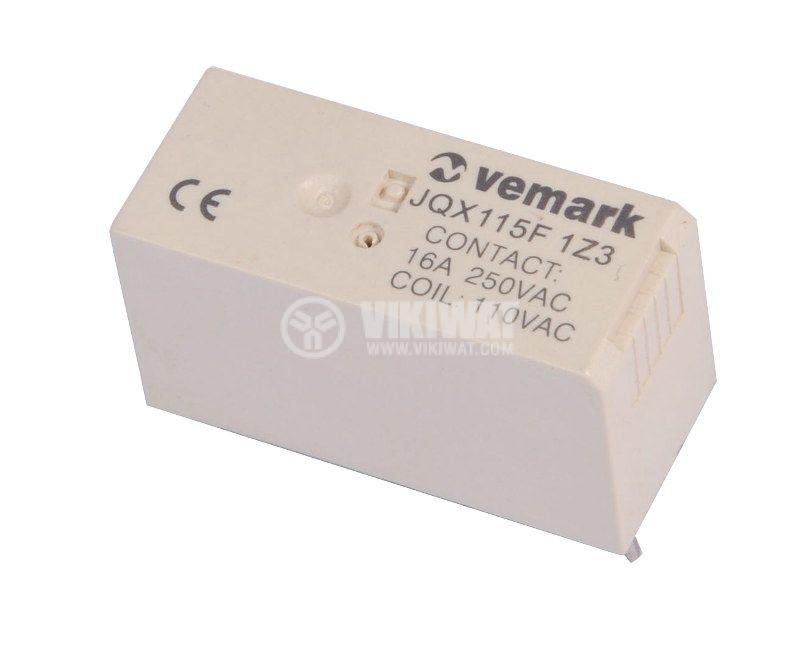 Electromagnetic Relay JQX115F 1Z3, 250VAC/16A, 2NO+2NC, 110VAC - 1