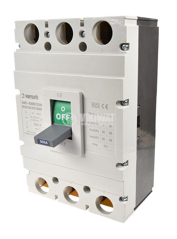Автоматичен прекъсвач, AM1-630M/3300, 3P, 500 А, 400 VAC - 1