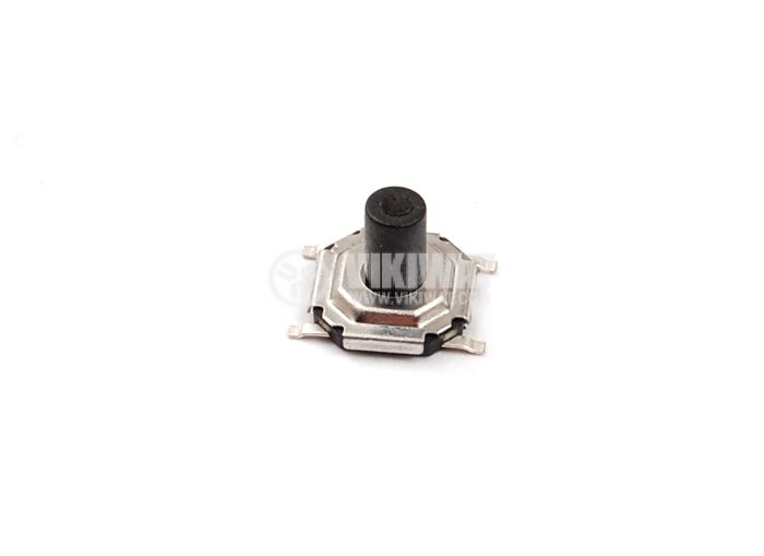 Микробутон, SMD H2, 50 V/0.05 A DPST, OFF(ON), незадържащ, печатен монтаж, Черен, 5x5x4.5 mm, 1NO контактa