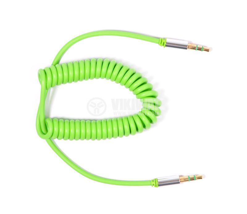 Кабел, DeTech, Jack 3.5 M-Jack 3.5 М, 1m, еластичен, зелен - 1