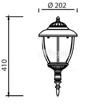 Garden lighting fixture Pacific CS 02, E27, standing copper