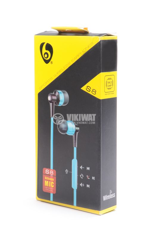 Headphones Ovleng S8, Bluetooth, plugs, 102db, blue - 4