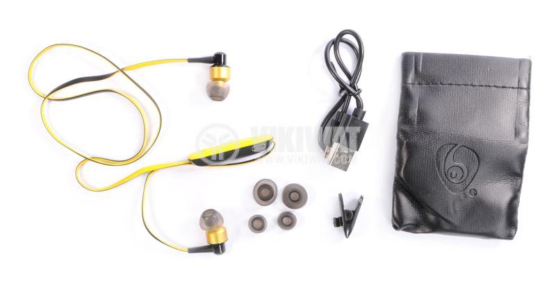 Headphones Ovleng S8, Bluetooth, plugs, 102db, yellow - 3