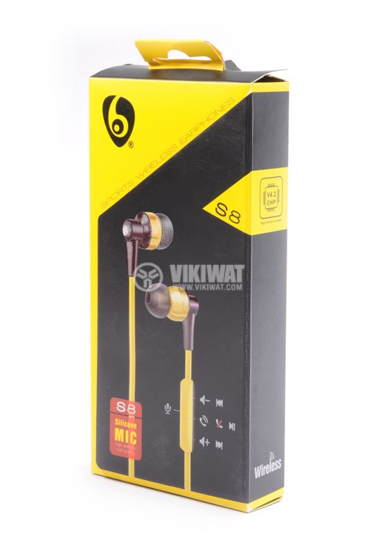 Headphones Ovleng S8, Bluetooth, plugs, 102db, yellow - 4