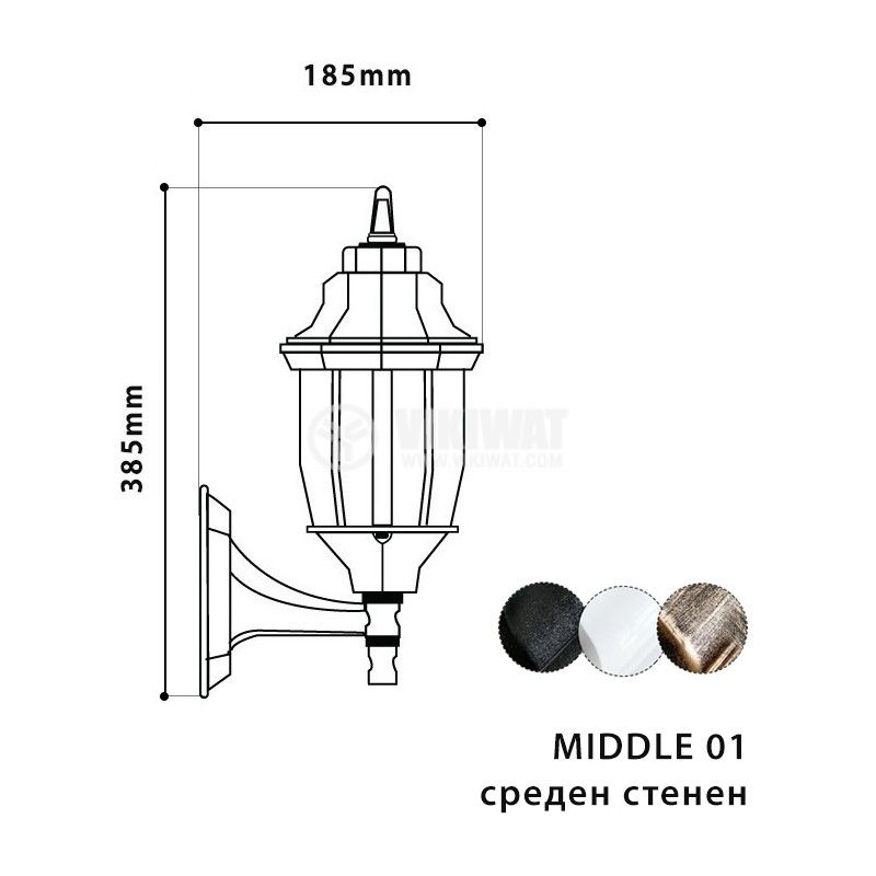 Garden lighting fixture Pacific Middle 01, E27, on wall old gold