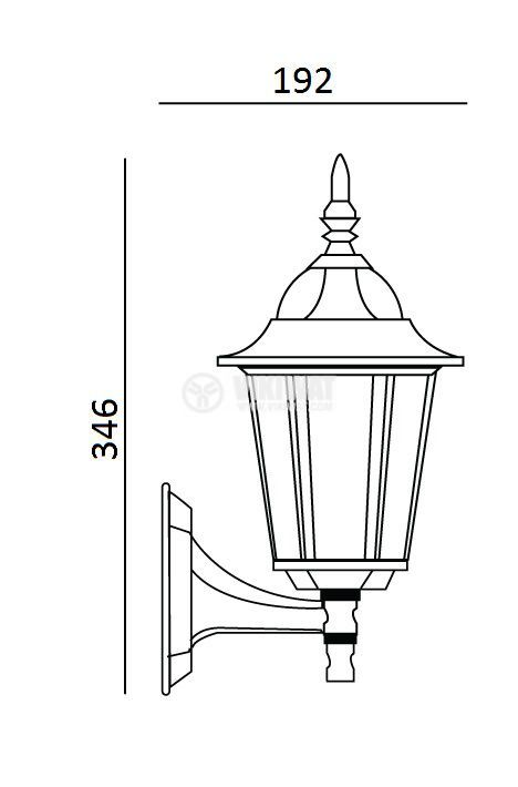 Garden lighting fixture Pacific Small 01, E27, mural wrought copper