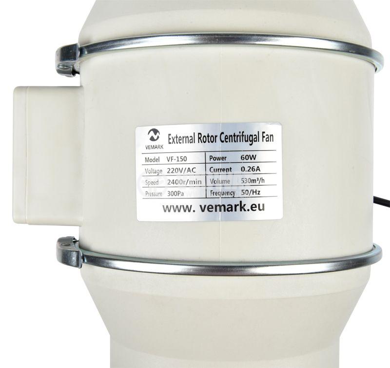 Fan, channel, VF-150, 220VAC, 60W, 530m3 / h, ф150mm - 9