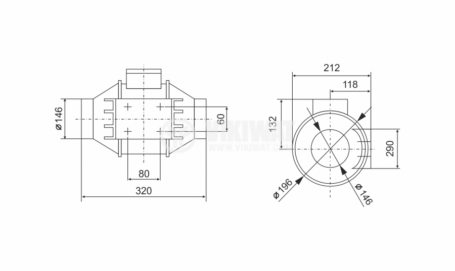 Duct fan, VF-150, 220VAC, 60W, 530m3 / h, ф150mm - 2