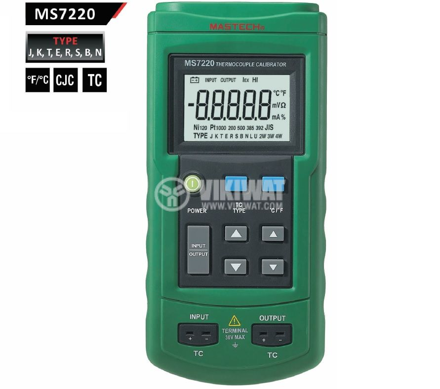 Thermocouple Calibrator MS7220, TC type J, K, T, E, R, S, B, N, -200˚C to +1800˚C - 1