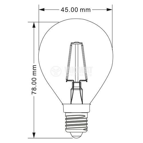 LED лампа FIlament 4W, E14, 220VAC, 400lm, 2700K, топлобяла, P45, BA37-00410 - 3