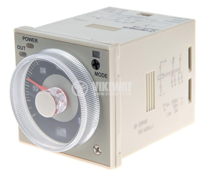 Реле за време H3CR-A8, аналогово, 220VAC, 2NO+2NC, 250 VAC, 5A, 0.5 s-300h - 1
