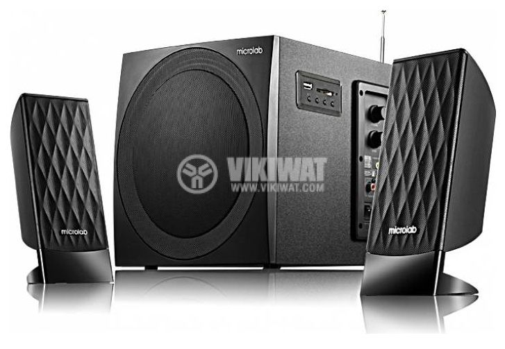 Speakers 2.1, Microlab M-300U, 38W, USB port, SD slot, FM tuner - 1