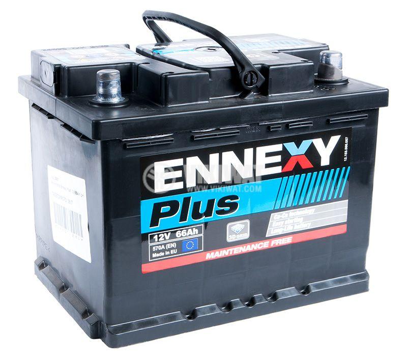 Car battery, 66Ah, starter, 12VDC, ENNEXY Plus - 1